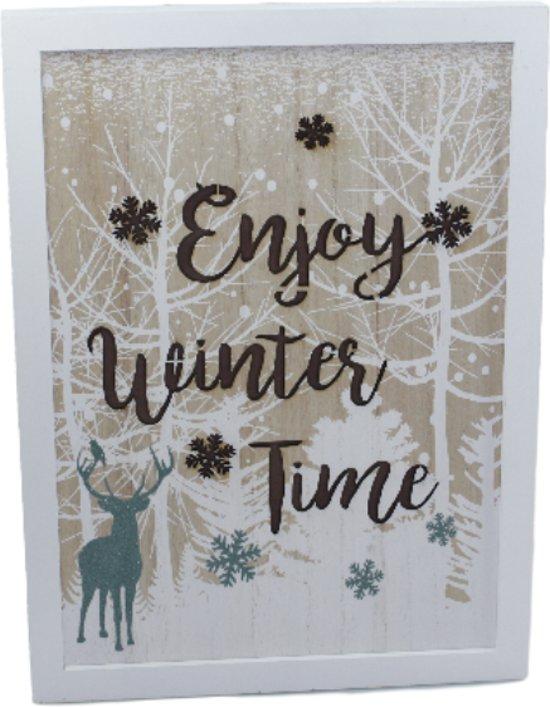 Kerst schilderij/tekstbord met led verlichting - Wit -Hout - 30x40x3cm
