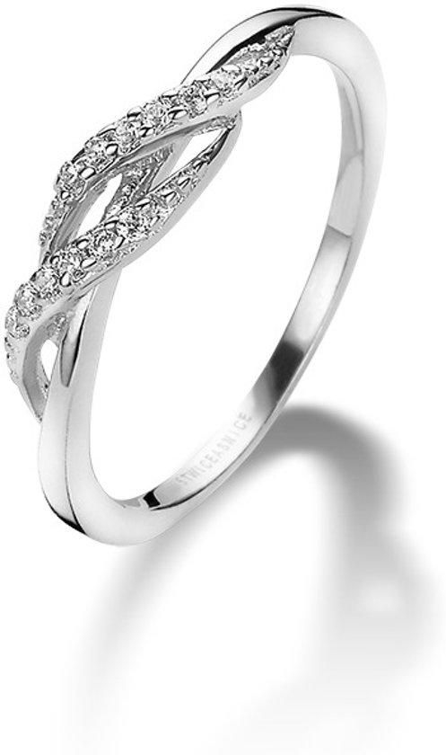Twice As Nice ring in zilver, zirkonia Wit 62