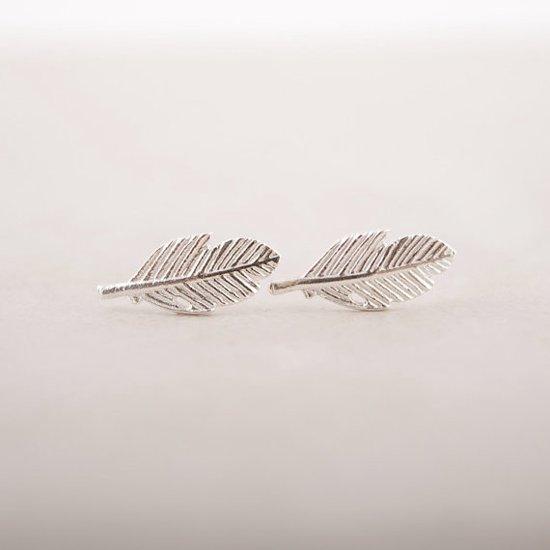 LifeGoods Zilverkleurige Oorbellen - Oorknopjes - Veren Design - Zilver