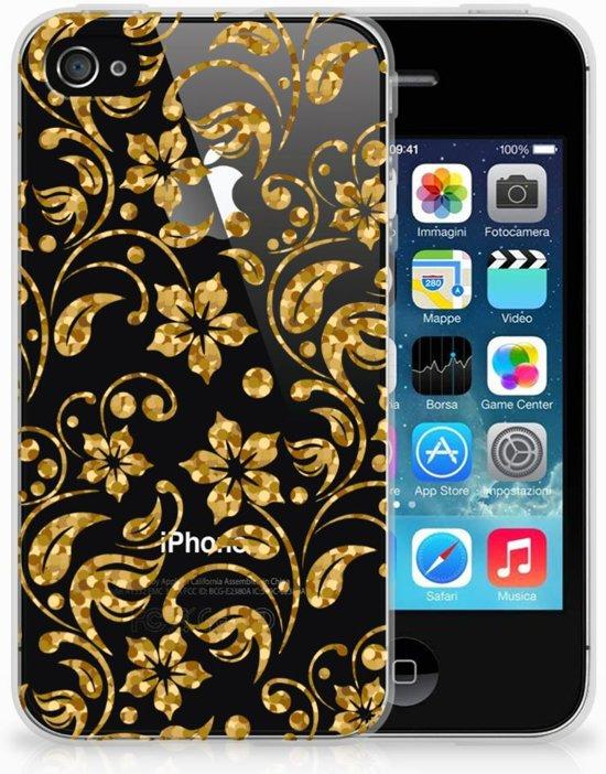 iPhone 4 | 4s  TPU-siliconen Hoesje Design Gouden Bloemen