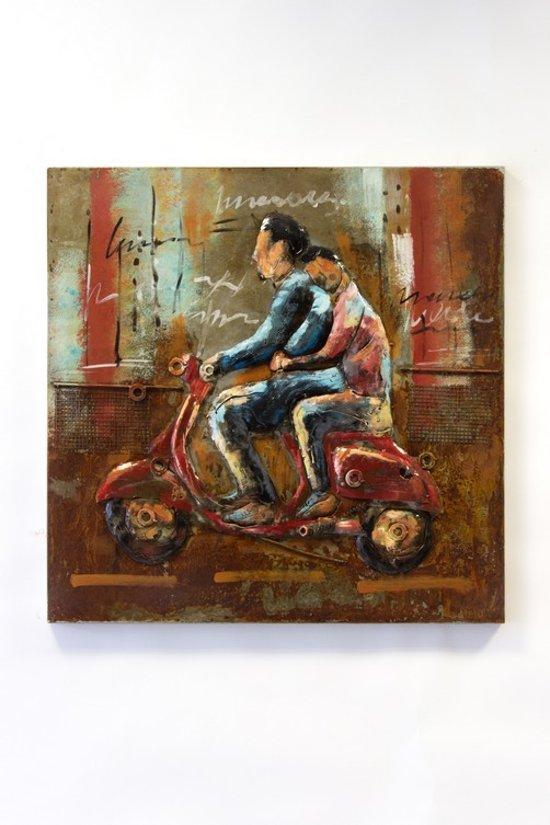 3d metaal schilderij 75 bij 75 cm scooter vespa for Schilderij buiten intratuin