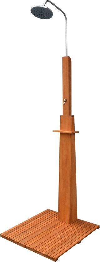 vidaXL Buitendouche eucalyptushout en staal