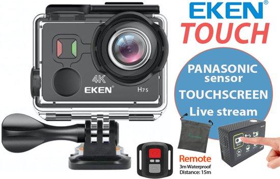 Action Camera EKEN H7s 4K TOUCH SCREEN + Live Streaming Youtube en Facebook + Panasonic chipsensor + Extra Accu