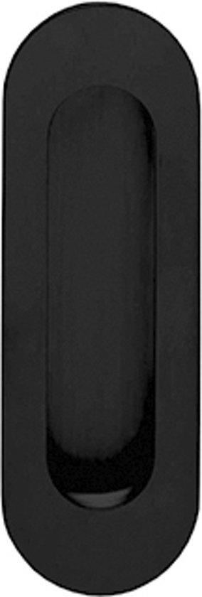 Intersteel schuifdeurkom - Ovaal 120x40mm blind - Mat zwart