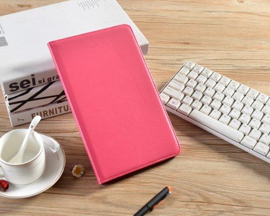 H.K. Draaibaar/Boekhoesje hoesje roze geschikt voor Samsung Galaxy Tab A 2019 (T510) + Glasfolie en stylus pen