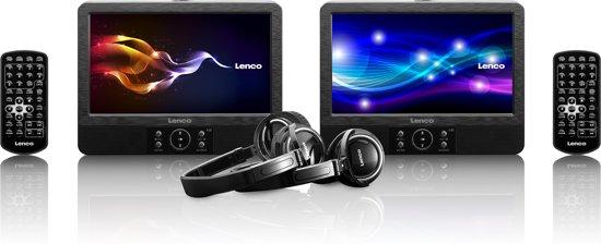 Lenco DVP-938 - Portable DVD-speler met 2 schermen en accessoire set - 9 inch - Zwart