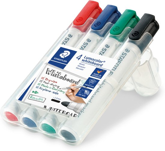 Staedtler Lumocolor whiteboard marker - 2mm - Rond - 4 stuks/kleuren