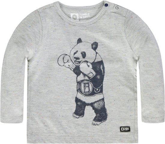 Tumble 'n dry Jongens Tshirt Naylen -  light grey melange  -  maat 86