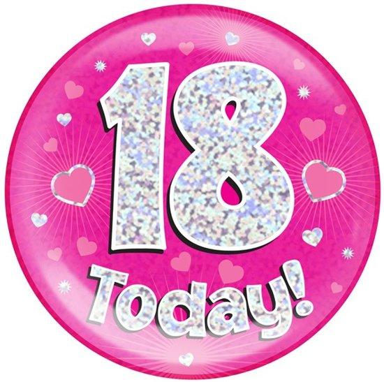 afbeelding 18 jaar bol.| button   18 jaar   roze, Feestland | Speelgoed afbeelding 18 jaar