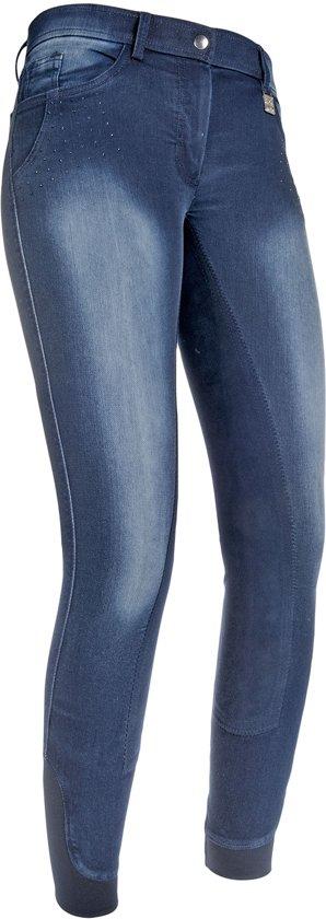 Rijbroek Denim -Flower Crystal- 3/4 Alos jeansblauw 80