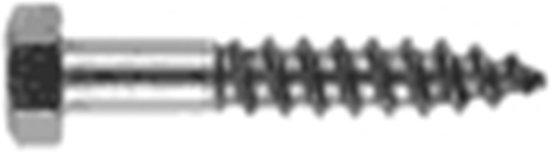 Huismerk - Houtdraadbout met zeskantkop DIN 571 RVS A2
