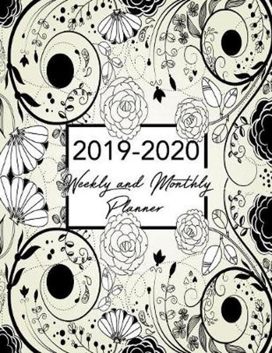 2019-2020 Weekly & Monthly Planner: Black Floral Academic Planner Organizer Calendar - August 2019-July 2020