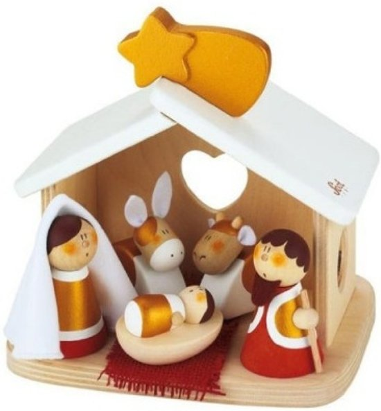 Sevi Nativity Scene Kerststal Hout Valentinaa