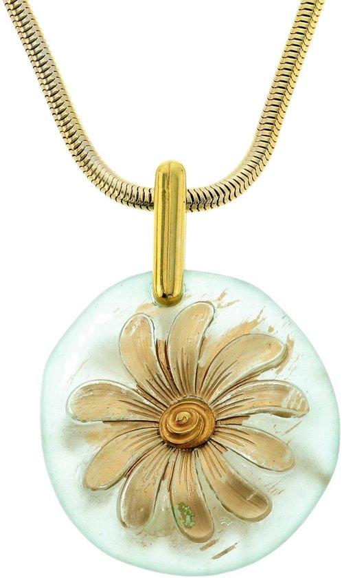 Lange goudkleurige ketting met ronde bloem hanger