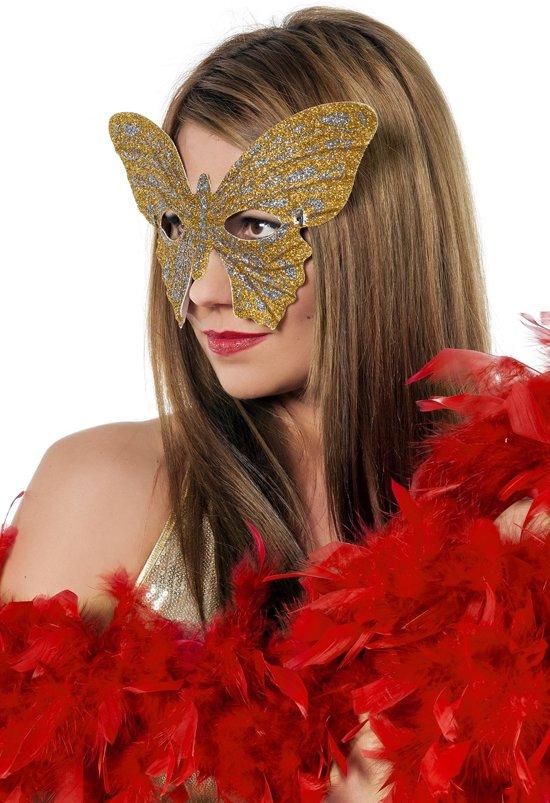Masker vlinder medium goud/zilver