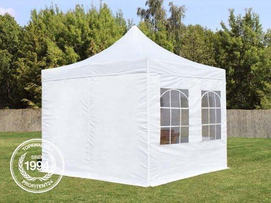 Easy Up Partytent - Vouwtent - 3x3m / wit / 100% waterdicht / PVC coating / Verstelbaar in 3 hoogtes / Inclusief zijwanden & gratis draagtas