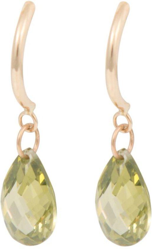Cataleya Earrings Half Hoop & Pear Green