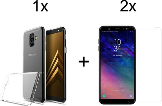Samsung Galaxy A6 Plus (2018) Hoesje Transparant - Siliconen Case - 2 x Tempered Glass Screenprotector