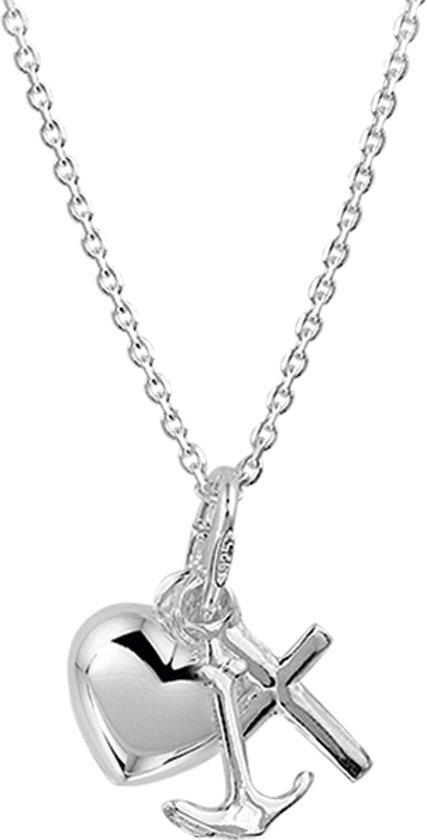 The Jewelry Collection Ketting Geloof, Hoop En Liefde - Dames - Zilver - 45 cm