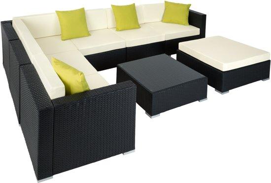 Luxe Loungeset Zwart.Tectake Tuinset Wicker Loungeset Aluminium Zwart 401815