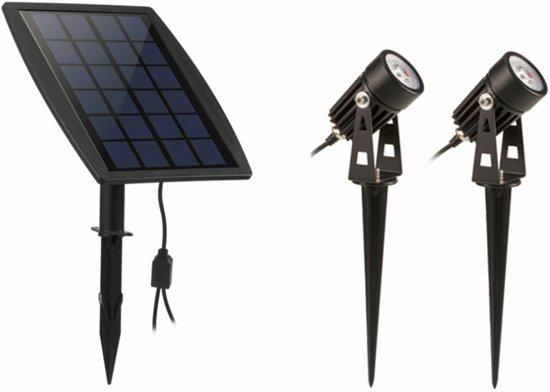 led tuinverlichting zonne energie met schemerschakelaar set van 2 aluminium zwart premium