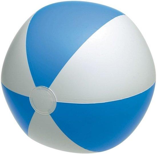 Opblaasbare speelgoed strandbal blauw/wit 28 cm - Strandballen - Buiten speelgoed - Strand speelgoed