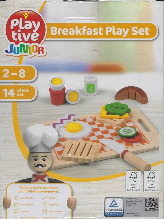 14 delig Ontbijt set hout/ breakfast play set 2-8 jaar