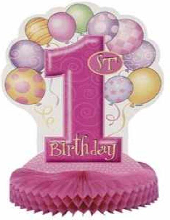 Decoratie 1e verjaardag roze ballonnen 355 cm for Decoratie verjaardag
