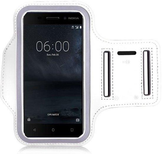 Nokia 6 Sportband Wit Hoesje Hardloop Sportarmband