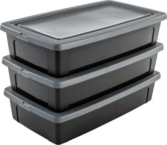 IRIS Modular Clear Box Opbergbox plat - 30 l - Kunststof - Zwart/Grijs - 3 stuks