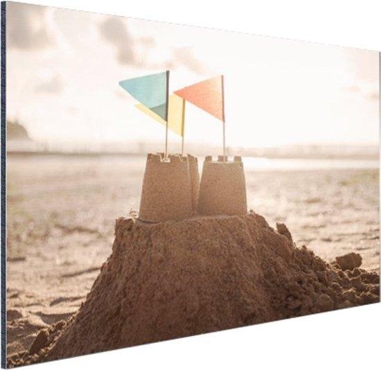 Zandkasteel op het strand Aluminium 120x80 cm - Foto print op Aluminium (metaal wanddecoratie)