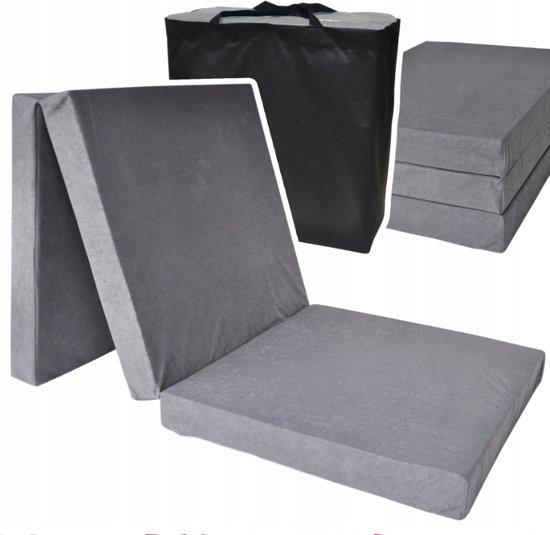 Logeermatras extra dik - grijs - camping matras - reismatras - opvouwbaar matras - 195 x 80 x 15