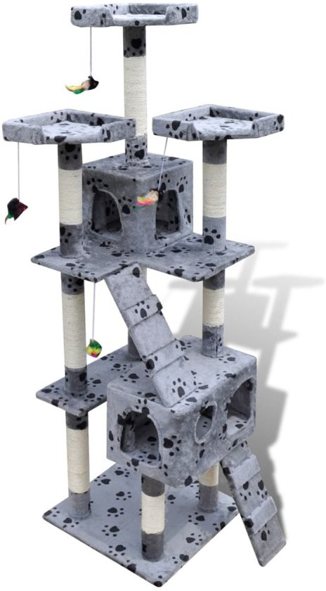 Krabpaal Max 170 cm 2 huisjes (grijs) met pootafdrukken