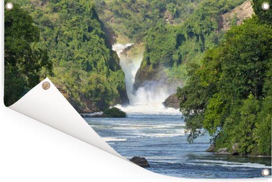 Murchison Falls stroomt in de rivier de Nijl Tuinposter 180x120 cm - Tuindoek / Buitencanvas / Schilderijen voor buiten (tuin decoratie) XXL / Groot formaat!