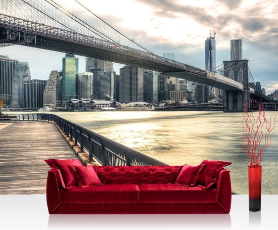 Foto Behang New York.Bol Com Fotobehang New York Brooklyn Bridge Skyline Vliesbehang