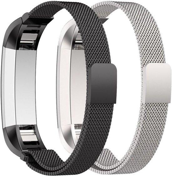 Just in Case 2 set Milanees armband voor Fitbit Alta / Alta HR - Zwart en Zilver in Lisserbroek