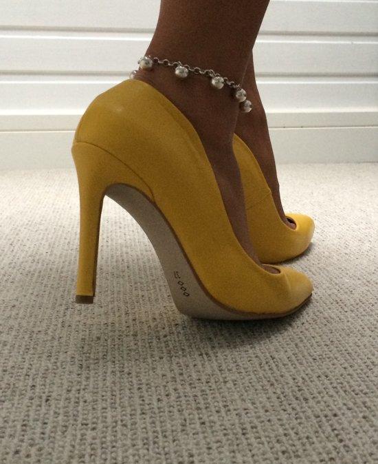 damesschoen sexy pump oker geel - high heels stiletto - killer heels