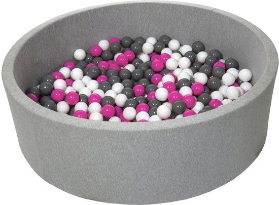 Zachte Jersey baby kinderen Ballenbak met 600 ballen, diameter 125 cm - wit, roze, grijs