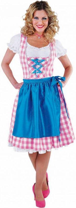 c5890bcfd14478 Luxe Oktoberfestkleding | Roze dirndl, witte blouse & blauw schort | Tiroler  jurkje maat M