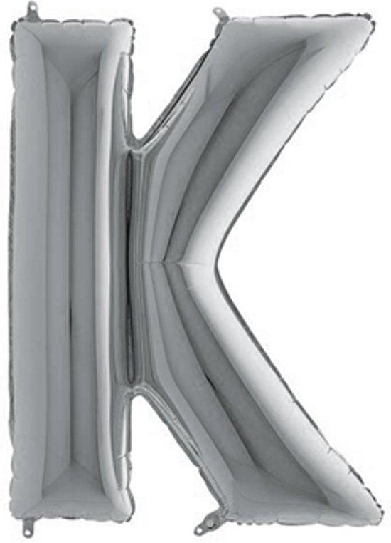 Folieballon letter K zilver (100cm)