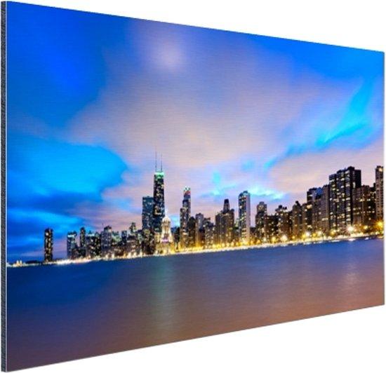 Wolken boven Chicago Aluminium 60x40 cm - Foto print op Aluminium (metaal wanddecoratie)