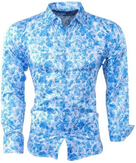 Bloemen Overhemd.Bol Com Pradz Heren Overhemd Bloemen Blauw