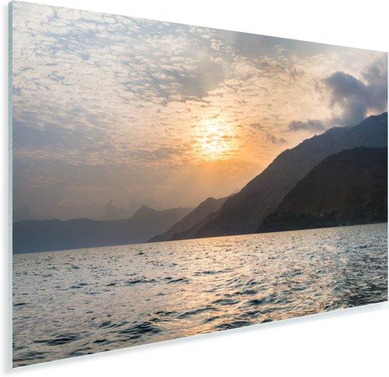 Zonsondergang over het Noord-Amerikaanse meer in Panajachel Plexiglas 60x40 cm - Foto print op Glas (Plexiglas wanddecoratie)