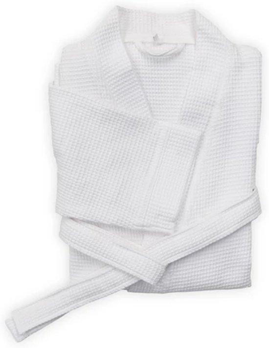 Comfortabel Wafel Badjas Katoen Wit | Maat L | Met Een Luxe Wafelstructuur | Kort Model