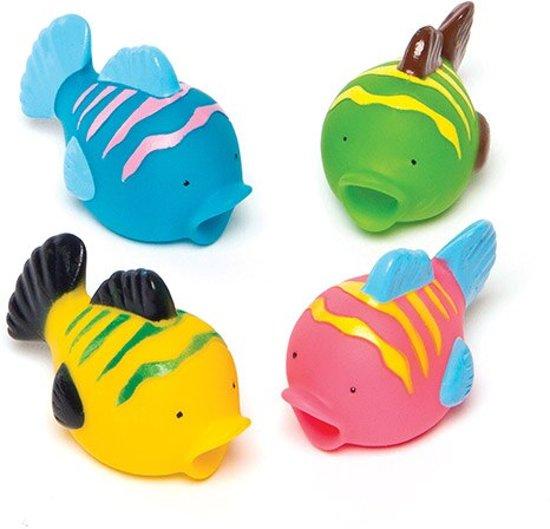 Speelgoed waterspuwers tropische vissen feestartikelen voor kinderen ideaal om cadeau te geven (4 stuks) Valentinaa