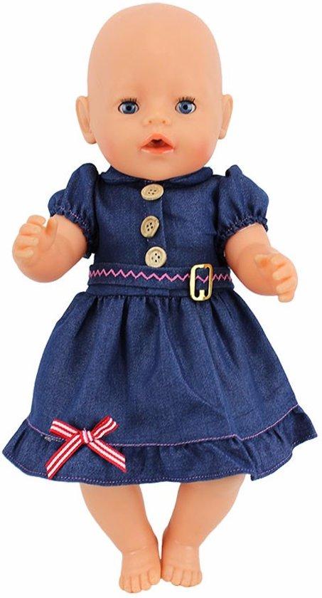 709bdf5f32f040 Denim jeans jurkje van spijkerstof voor babypop zoals baby born - past ook  op poppen met