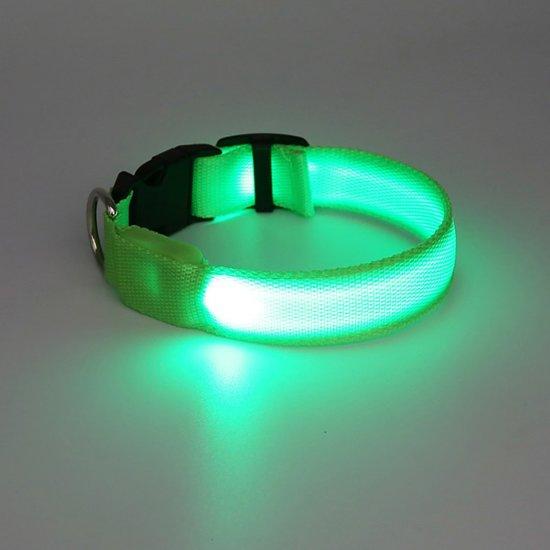 halsband voor hond met led verlichting groen maat m 40 48cm