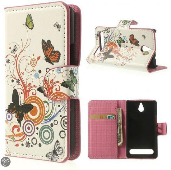 Sony Xperia E1 agenda Vlinders kleuren wallet hoesje