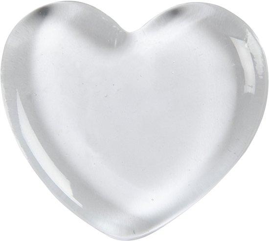Hart, afm 6,5x6,5 cm, dikte 10 mm, transparant, 20stuks