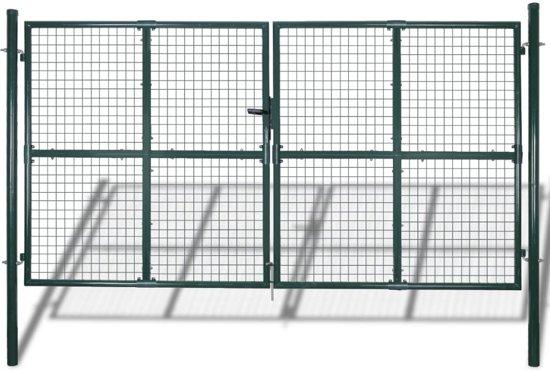 Tuinpoort modern hekwerk 300 x 200 cm (donkergroen)